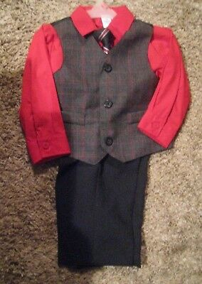 BOYS 4 pc. George SUIT new RED with striped tie CHOICE of  0-3 , 18 months , 4T