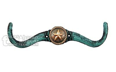 Cast Iron Longhorn Steer Hook Coat Hanger Texas Star Concho Rustic Turquoise