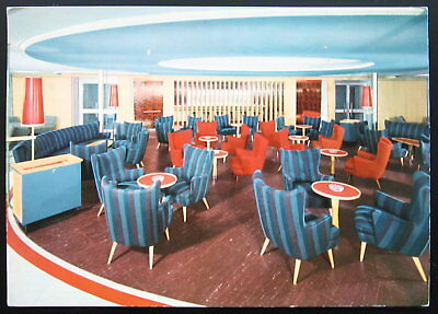 1960's German Passenger Ship Postcard ~ BREMEN Norddeutscher Lloyd, Smoking Room
