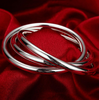 Womens 925 Sterling Silver 3 Pieces Thick Round Bangle Cuff Bracelet + Box #B467