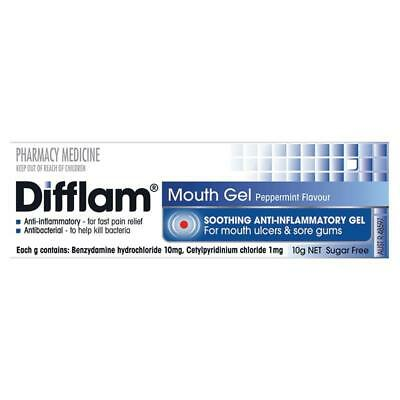 Difflam Anti Inflammatory Mouth Gel 10G Anti-Bacterial For Ulcers Sore Gum