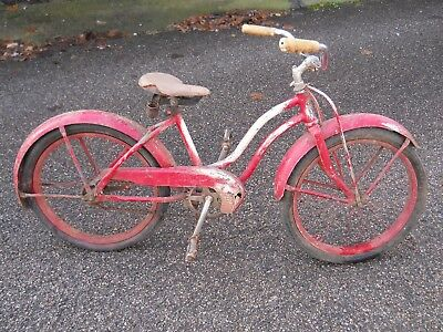 "VINTAGE WESTERN FLYER 20"" BALLOON TIRE GIRLS BIKE Skip Tooth"