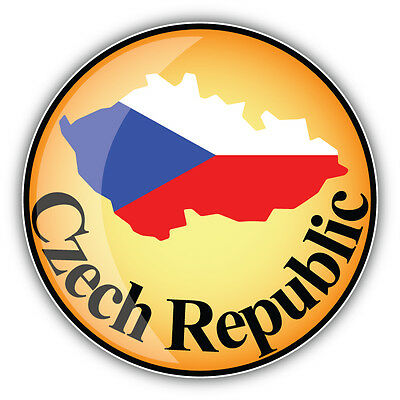 Czech republic map flag label car bumper sticker decal 5 x 5