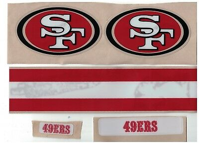 San Francisco 49ers FULL SIZE FOOTBALL HELMET DECALS W/STRIPE & BUMPERS