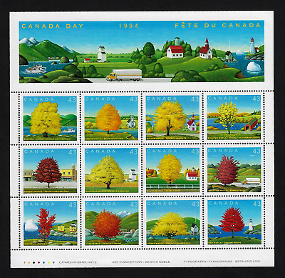 Canada Stamps — Full Pane of 12 — Canada Day: Maples Trees — #1524 — MNH