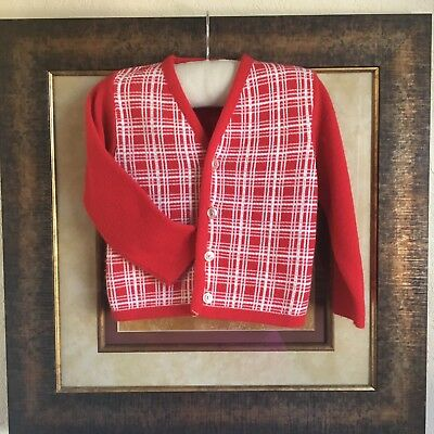 Vintage 1950s Red Plaid Sweater 2T Christmas Candy Cane Cardigan