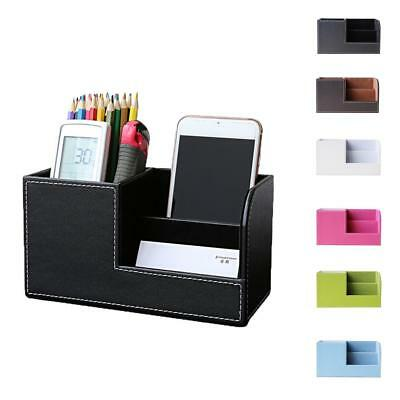 Leather Desk Stationery Organizer Drawer Comestic Box Pen/ Card Holder