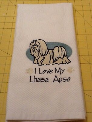 I Love My Lhasa Apso Embroidered Kitchen Hand Towel 100% cotton, XL