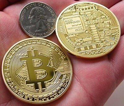 Gold Bitcoin Commemorative Round Collectors Coin Bit Coin is Gold Plated Coins ^