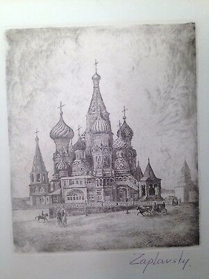 Antique Russian Etching Circa Early 1900s Signed by Zaplansky