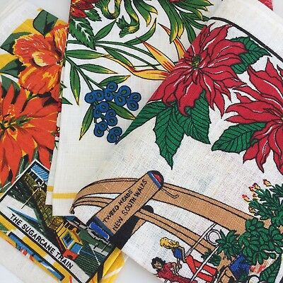 Lot of VINTAGE Tea Towels LINEN Collectable SOUVENIR Floral