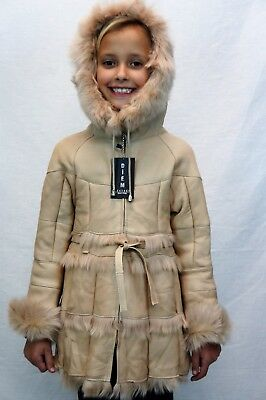 Tan 100% Genuine Sheepskin Shearling Leather Girls Kids Children Coat Jacket