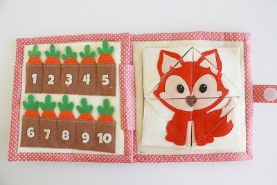 HANDMADE quiet book busy activity montessori toy button zip sensory educational