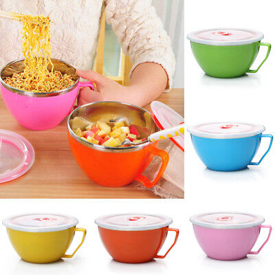 Noodle Bowl with Lid Handle Stainless Steel Leak-Proof Food Container Snack Soup