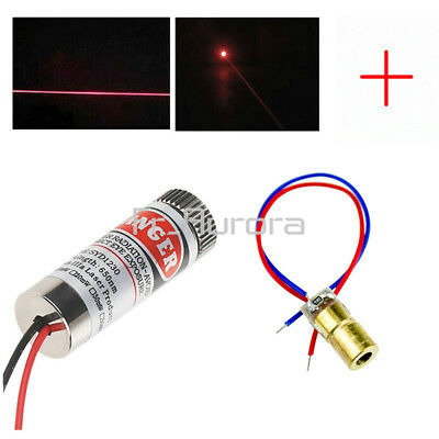 3-5V 5mW 650nm Adjustable Red Laser Diode Cross Line Lens Focus Head Laser