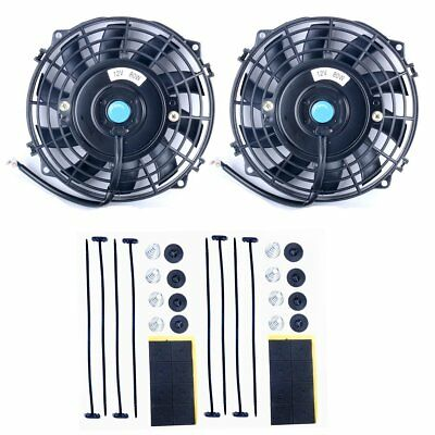 "7""12V 80W High Performance Black Slim Electric Cooling Radiator Fan Mount 2 Pack"