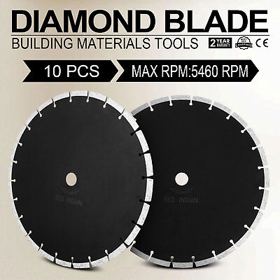 "10PK 14"" Diamond Saw Blades for Asphalt Green Concrete Abrasive Materials"