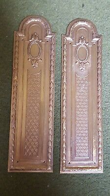 A pair of Vintage brass French decorative door finger plates