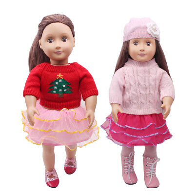 6pcs Clothes for 18'' American Girl Doll Sweater Outfit Dress Skirt Hat Pant