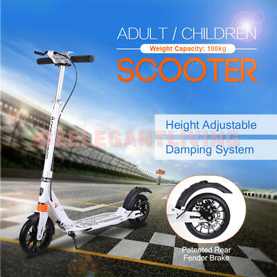 Hand Disc Brake Folding Scooter 200mm Wheels Dual Supension Adult Commuter Child