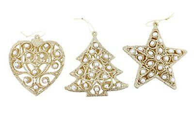 3 Pack Country Silk Tree Star And Heart Glittered Ornaments Christmas Decor Gold