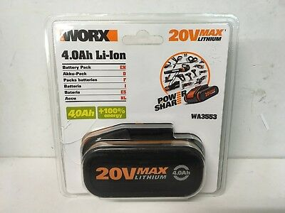 Worx WA3553 20v 4.0Ah LI-ION Battery Pack - NEW + SEALED
