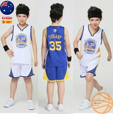 Kids Basketball Jersey Kevin Durant #35 GS Warriors Top+Shorts Kids & Youth