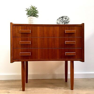 Stunning Mid Century Vintage Danish Teak Chest Of 3 Drawers 1960's