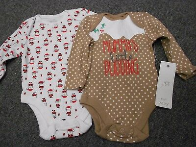 F&F Baby Christmas pack of 2 Vest Bodysuit  0-3 months