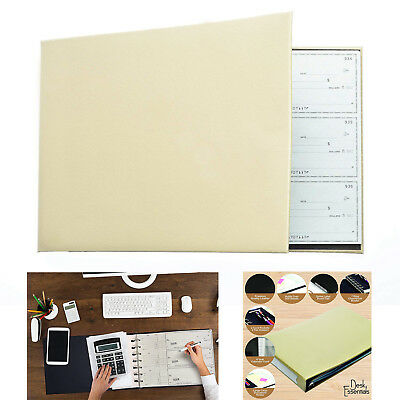 Business Check Book Organizer Leather Checkbook Binder Stationary Storage 7 Ring
