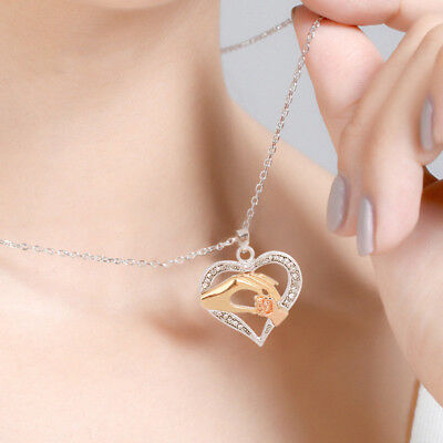 Women Fashion Charm 925 Silver Crystal Heart Pendant Necklace Chain Jewelry