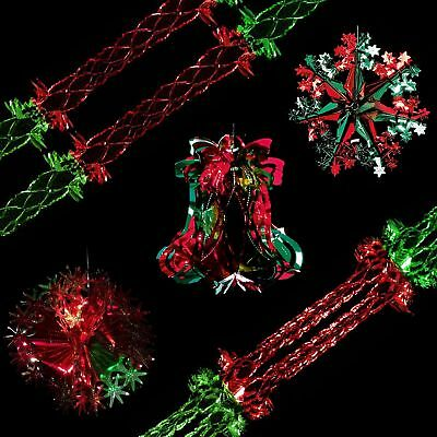 Snow White Christmas Foil Ceiling Decorations - Red & Green - Choose