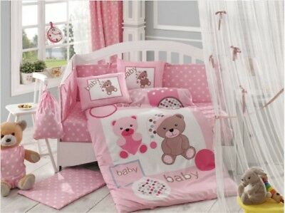 100% cotton baby duvet cot set 4 Piece teddy nursery quilt cover set