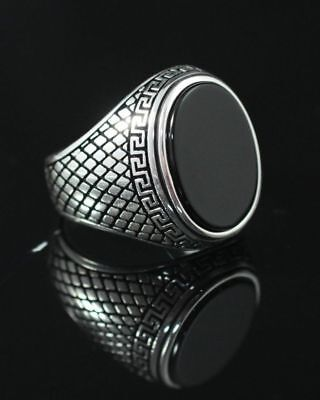 Handcraft 925 Sterling Silver Jewelry Black  Onyx Gemstone Men's  Ring