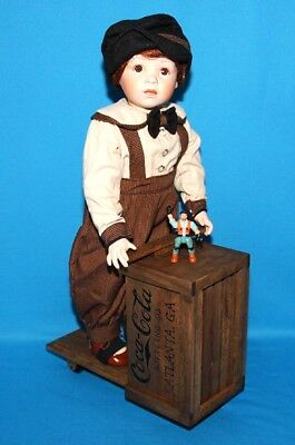 Coca Cola Boy Porcelain Doll & Wooden Scooter Limited Edition No J5091