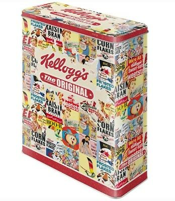 XLarge Retro Storage Metal Tin KELLOGG'S 'The Original' Collage Cereal Licensed