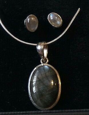 Aries. 925 Silver And Labradorite Crystal Pendant And Stud Set. Gift Boxed.