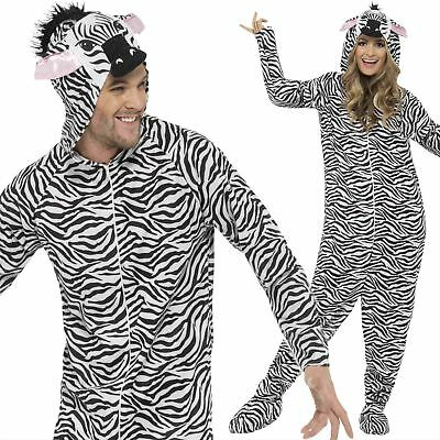Adult Unisex Zebra All in One Costume Zoo Animal Fancy Dress Outfit Mens Ladies