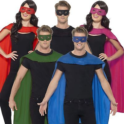 Adult Unisex Superhero Cape Eye Mask Fancy Dress Halloween Costume 5 Colours New