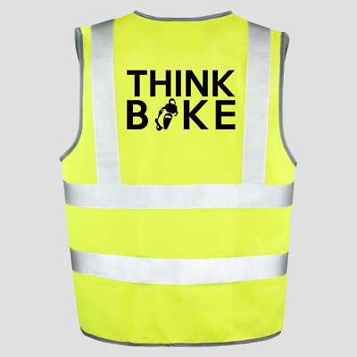 Motorcycle Motorbike Hi Vis Viz Vest Think Bike Reflective Road Safety