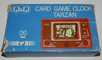 ****vintage Tarzan Lcd Handheld Game & Clock/watch By Q&q In Box/boxed****