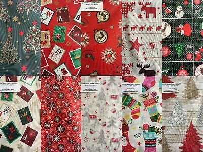 CHRISTMAS TABLE CLOTHS COVERS 100% Cotton LOTS OF DESIGNS 3 Sizes RECTANGLE