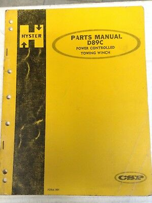 HYSTER SERVICE MANUAL - Hyster Power Controlled Winch - W5B