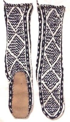 FAIR TRADE ethnic WOOL mix HAND knit AFGHAN slipper SOCKS leather SOLE 6-7-8 M84