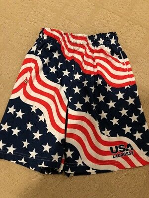 Unisex American Flag Lacrosse Poly Blend Shorts- Youth Large