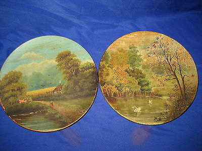 2 x Watcombe Torqway  Pottery Plates / Plaques   Hand Painted  Landscape