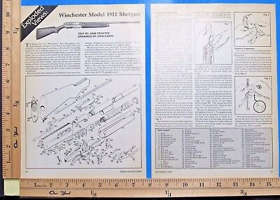 1987 WINCHESTER MODEL 1911 Autoloading shotgun EXPLODED VIEWS Article 9488