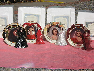 4 REFLECTIONS OF SCARLETT O'Hara Figure Plates Gone With the Wind Bradford