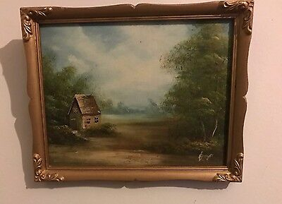 Original Vintage/retro Oil Painting Canvas On Board Picture Gold Gilt Frame
