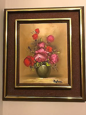 Original Oil Painting On Canvas Still Life Red Flowers Old Vtg Picture Signed